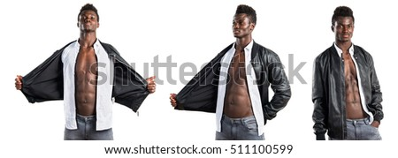 Handsome black man posing in set image