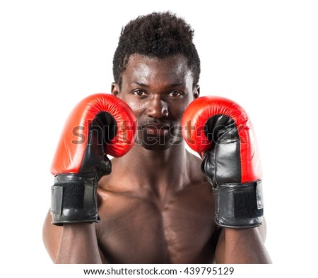 Handsome black man with boxing gloves
