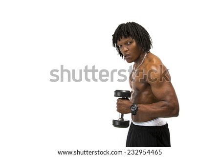Handsome black man with dreadlocks working out topless wearing all black exercise shorts flexing his biceps holding a free weight facing the side - stock photo