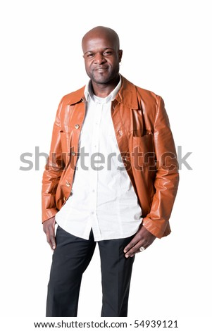 Handsome black man with leather jacket smiling isolated on white background. - stock photo