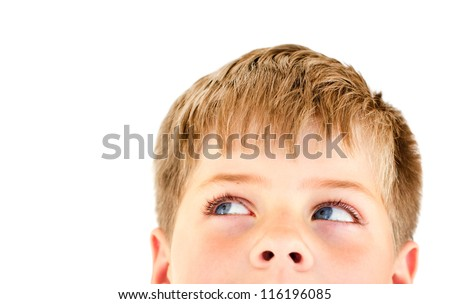 Handsome blond boy looking into the corner. Close-up portrait with copy space for text. Isolated on white. - stock photo