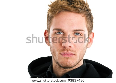 Handsome blond man with blue eyes isolated on white - stock photo