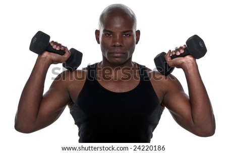 Handsome  Body Builder African American doing exercise.
