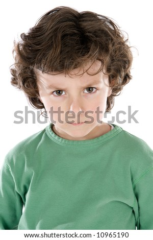 Handsome boy angry a over white background - stock photo