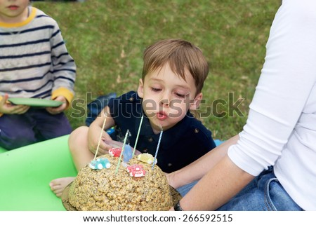 Handsome boy blows out the candles on the cake for a birthday celebration - stock photo