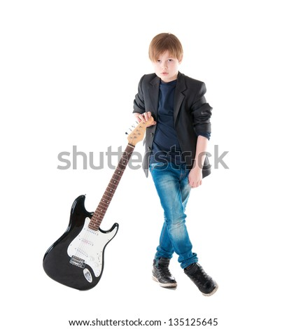 Handsome boy whit electric guitar a over white background - stock photo