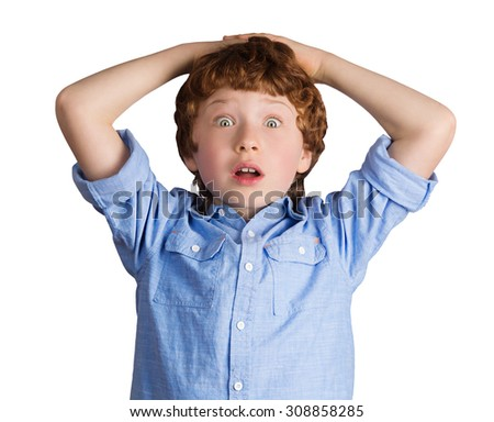 Handsome boy with surprised facial expression putting his hands on his head. Isolated on white background - stock photo