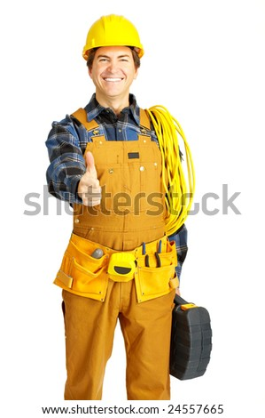 Handsome builder in yellow uniform. Isolated over white background