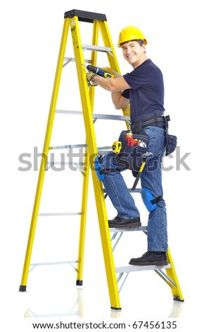 Handsome builder . Isolated over white background - stock photo