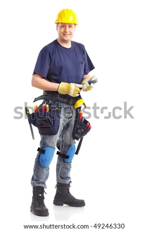 Handsome builder with tools. Isolated over white background - stock photo