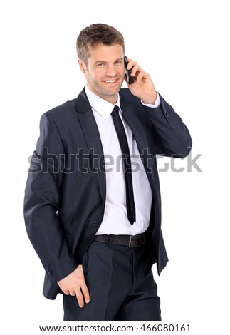 Handsome business man calling