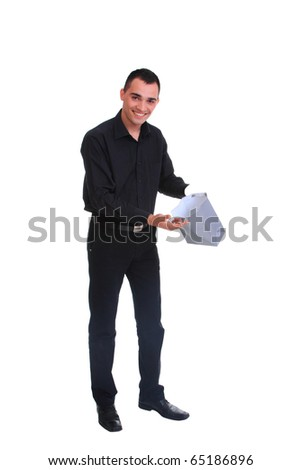 Handsome business man holding shopping bags - isolated over a white background
