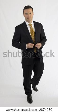 Handsome Business Man Black Suit Adjusting Stock Photo 2874231 ...