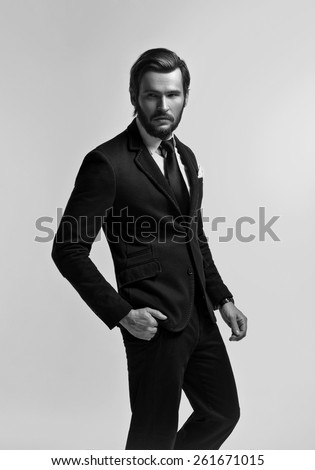 Handsome business man in suit and tie - stock photo