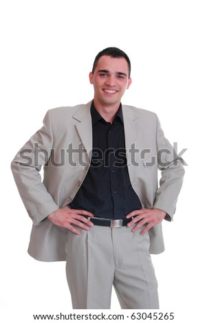 Handsome business man - isolated over a white background - stock photo