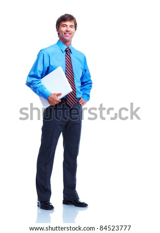 Handsome business man. Isolated over white background.