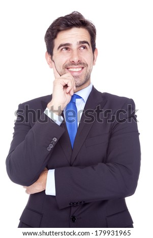 Handsome business man looking up, isolated on white background