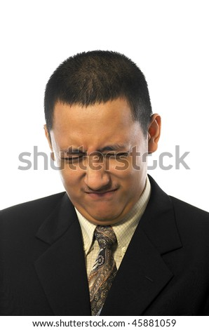 Handsome business man making funny face his suit, isolated on white background - stock photo