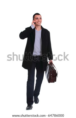 Handsome business man on the phone - isolated over a white background - stock photo