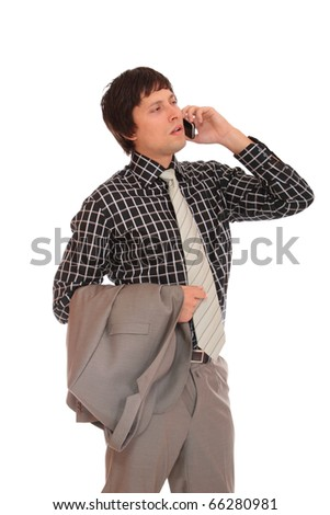 Handsome business man on the phone - isolated over a white background