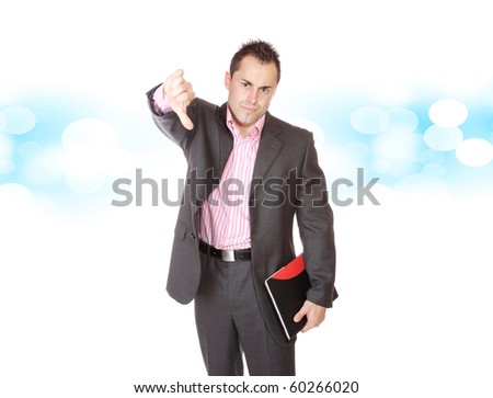 Handsome business man over  blue bokeh  background