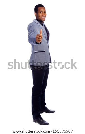 Handsome business man thumbs up, isolated over white background - stock photo