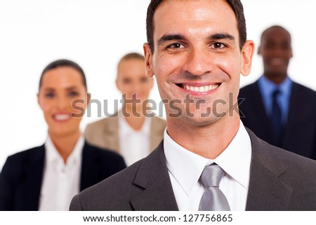 handsome businessman and colleagues studio portrait - stock photo