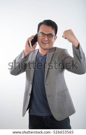 Handsome businessman and eyeglasses speaking on  White Background