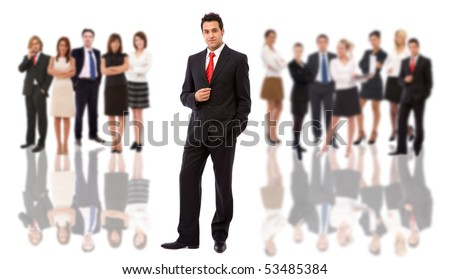 handsome businessman and his team on white background