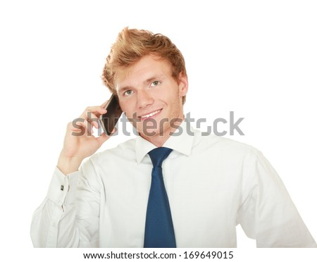 Handsome businessman calling on mobile phone , isolated on white background - stock photo
