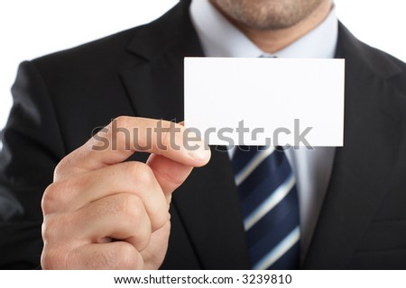 Handsome Businessman Closeup - presenting his business card
