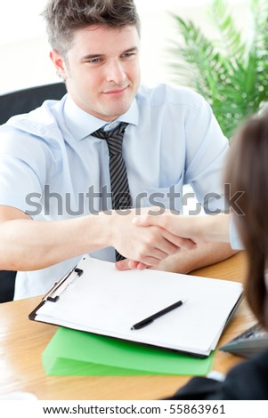 Handsome businessman closing a deal in the office - stock photo