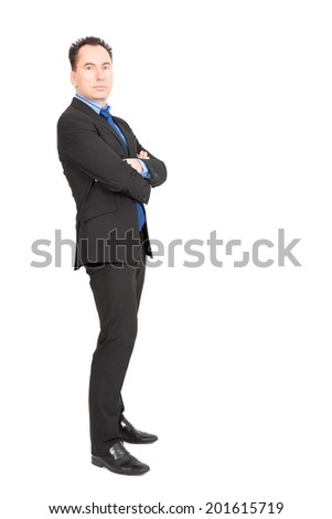 Handsome businessman doing different expressions in different sets of clothes: arms crossed