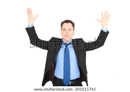 Handsome businessman doing different expressions in different sets of clothes: arms raised