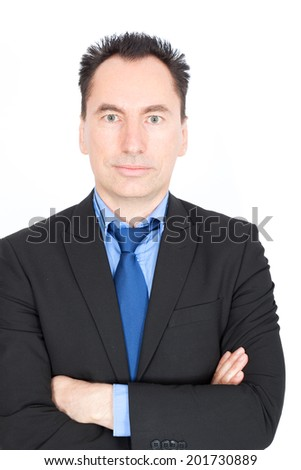 Handsome businessman doing different expressions in different sets of clothes: portrait