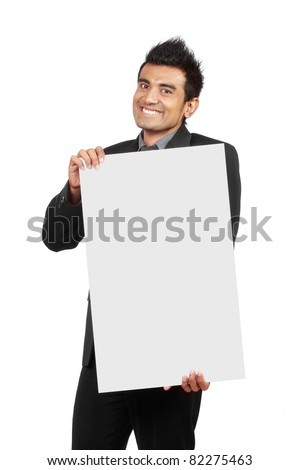 Handsome Businessman holding a blank board isolated on white background - stock photo