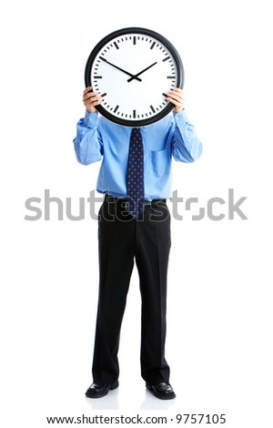 Handsome businessman holding the clock. Over white - stock photo