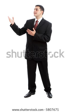 Handsome Businessman in black outfit shot in studio isolated on white
