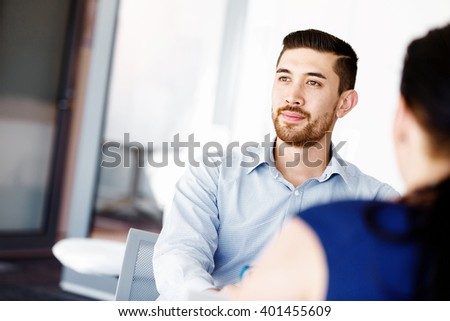 Handsome businessman in office