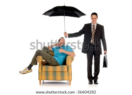 Handsome businessman,  insurance agent sitting in sofa, two faces.  Studio, white background.