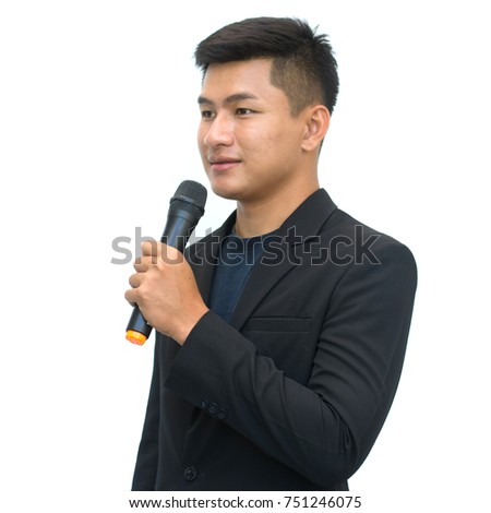 Handsome businessman is speaking on conference in hotel isolated on white background with clipping path.