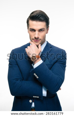 Handsome businessman isolated on a white background. Looking at camera