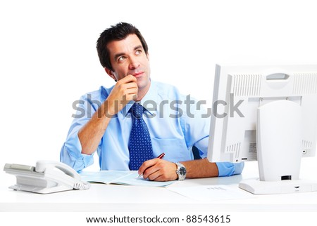 Handsome businessman. Isolated over white background. - stock photo