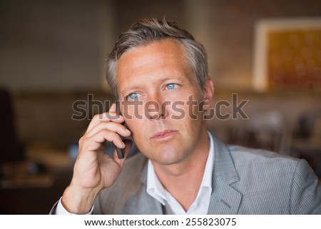 Handsome businessman on the phone at the cafe - stock photo