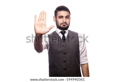Handsome businessman on white background.