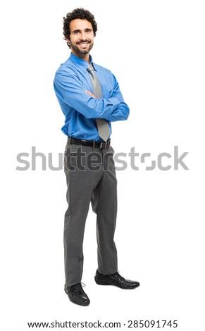 Handsome businessman portrait full length - stock photo