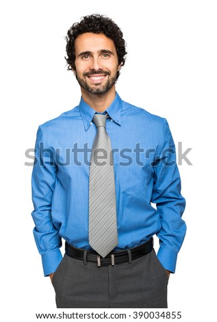 Handsome businessman portrait isolated on white - stock photo