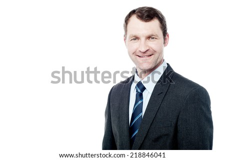 Handsome businessman posing isolated on white