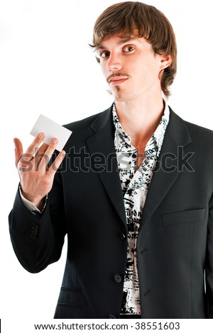 Handsome businessman proud of his corporate business card against white background - stock photo