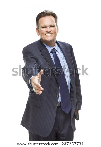 Handsome Businessman Reaching For A Handshake Isolated on a White Background. - stock photo